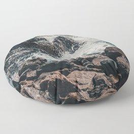 Splashing Waves on Rocks 01 Floor Pillow