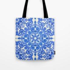 Cobalt Blue & China White Folk Art Pattern Tote Bag