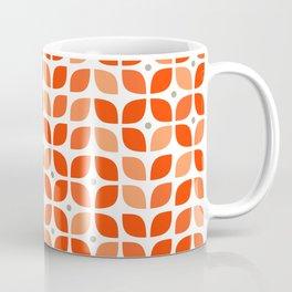 Red geometric floral leaves pattern in mid century modern style Coffee Mug