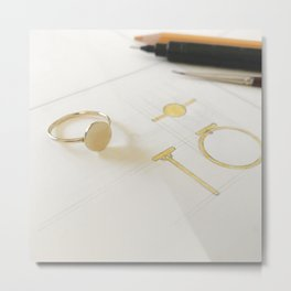 Signet Ring Sketch Metal Print