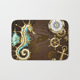 Wooden Background with Mechanical Seahorse ( Steampunk ) Bath Mat