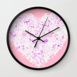 white and pink heart shape with pink background Wall Clock