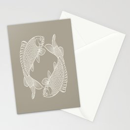 Gray Grey Alabaster Koi Fishes Stationery Cards