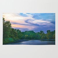racoon Area & Throw Rugs featuring Little Racoon River by Judith Lee Folde Photography & Art