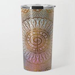 Gentle Pastel and Gold  Choku Rei Symbol in Mandala Travel Mug