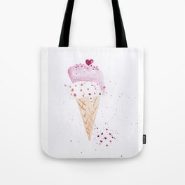 Ice cream Love watercolor illustration summer love pink strawberry Tote Bag