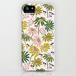 Waving floral pattern iPhone Case