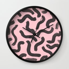 Paint Strokes - Black On Pink Wall Clock
