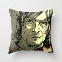 daryl dixon Throw Pillows featuring Daryl Dixon by David Cousens