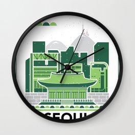 City Illustrations (Seoul, South Korea) Wall Clock