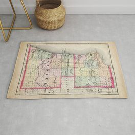 Benzie and Manistee County Michigan Map Rug