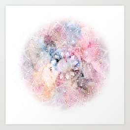 Whimsical white watercolor mandala design Art Print