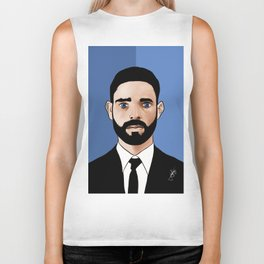 SUITED BEARDED MAN Biker Tank