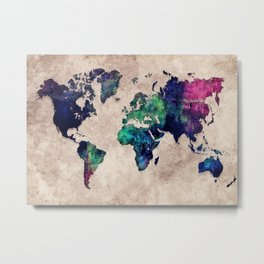 World map watercolor 1 Metal Print