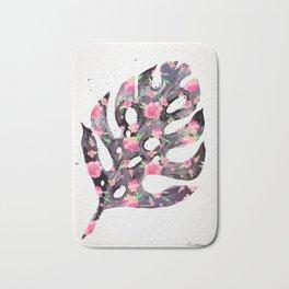 Tropical Leaf - Philodendron Black Pink Bath Mat