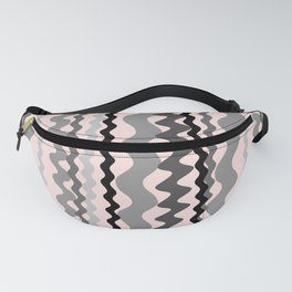 Black and Grey hand drawn vertical stripes on pink - Mix & Match with Simplicity of Life Fanny Pack