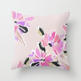 Mod Floral in Pink Throw Pillow