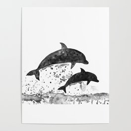 Dolphins, black and white Poster