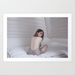 white self portrait Art Print