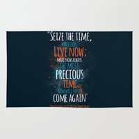 "picard Area & Throw Rugs featuring ""Live now; make now always the most precious time. Now will never come again"" Captain Picard by Elizabeth Cakovan"