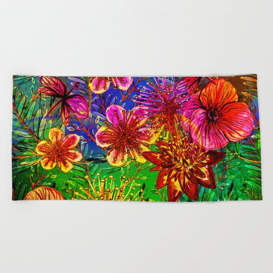 Tropical Heat-Colorful Floral Exotic Tropical Flower Pattern Beach Towel