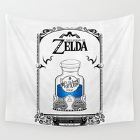 hyrule Wall Tapestries featuring Zelda legend - Blue potion  by Art & Be