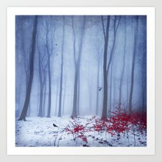 winter forest with birds Art Print
