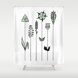 Wildflower Stems Design — Green Wildflowers Illustration Shower Curtain