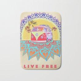"""BusLife Vintage Inspired """"Live Free"""" Poster print Bath Mat"""