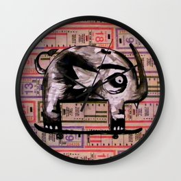 Snaggle Toothed Elephant Rides Skateboard - SF Muni Tickets Wall Clock
