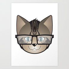 Tabby Glasses Art Print