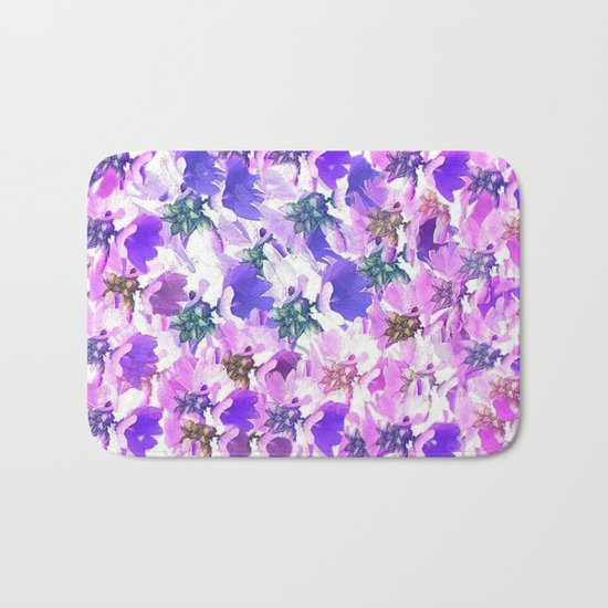Lavender and Pink Floral Abstract Bath Mat