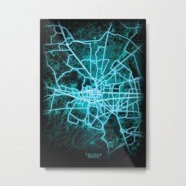 Toluca, Mexico, Blue, White, Neon, Glow, City, Map Metal Print