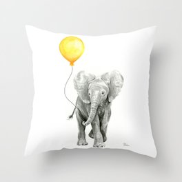 Elephant Watercolor Yellow Balloon Whimsical Baby Animals Throw Pillow