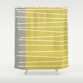 MId century modern textured stripes Shower Curtain