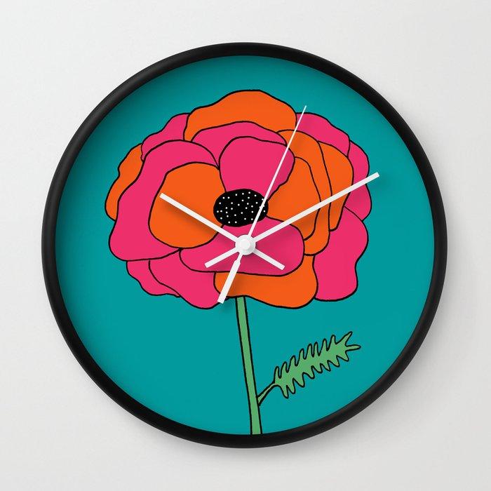 Colorful Floral Garden Print by Emma Freeman Designs Wall Clock