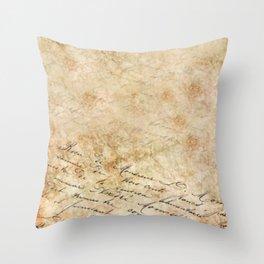 Elegant Script On Parchment Throw Pillow
