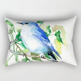 Mountain Bluebird, sky blue green bird artwork Rectangular Pillow