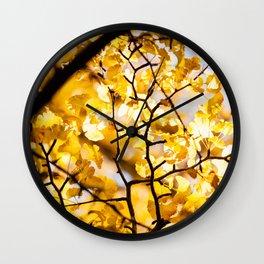 Yellow Japanese Gingko Wall Clock