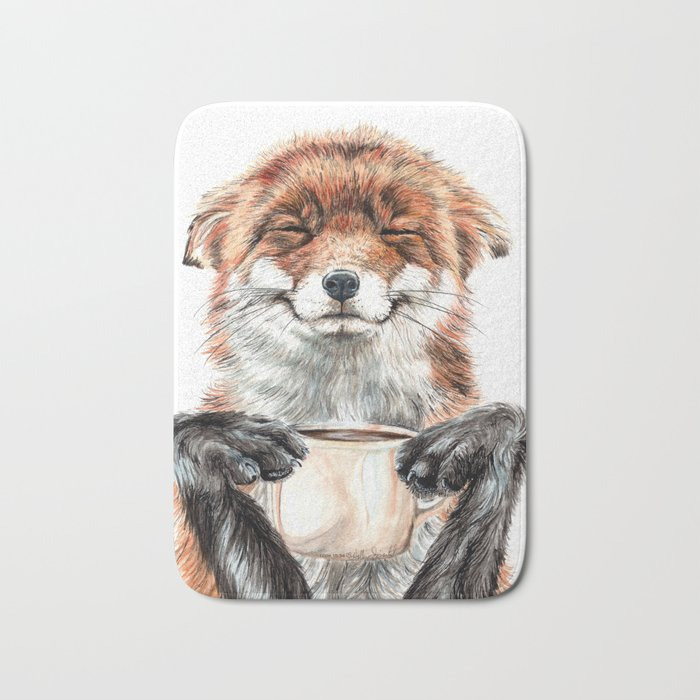 """ Morning fox "" Red fox with her morning coffee Bath Mat"