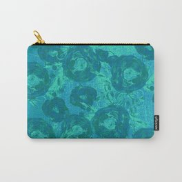 Abstract Poppy Pattern Blue Carry-All Pouch