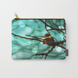 African Bird and Branches Aqua Carry-All Pouch