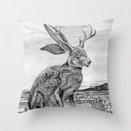 Chisos Mountain Jackalope Throw Pillow