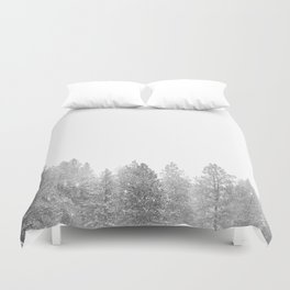 Winterland // Snowy Landscape Photography White Out Winter Pine Tree Artwork Duvet Cover