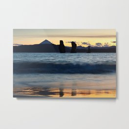 Three rocky islands in Pacific Ocean at beautiful sunset Metal Print