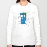 tardis Long Sleeve T-shirts featuring blue box by Matthew Taylor Wilson