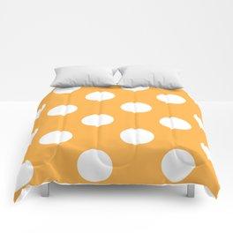 Large Polka Dots - White on Pastel Orange Comforters