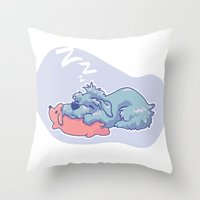 schnauzer Throw Pillows featuring Sleepy Schnauzer by Lahela Schoessler
