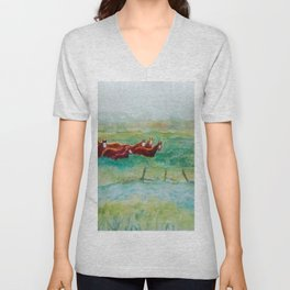 Wild Horse Band by Creek watercolor by CheyAnne Sexton Unisex V-Neck