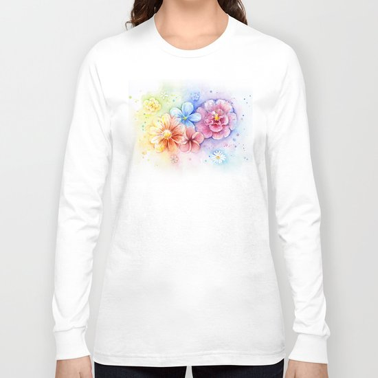 Flowers Watercolor Floral Colorful Rainbow Painting Long Sleeve T-shirt